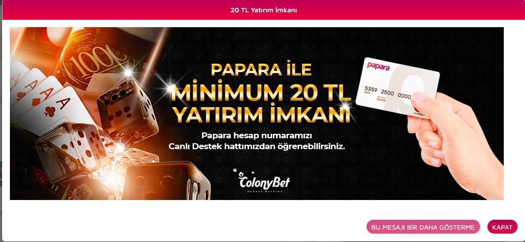 colonybet papara ödeme - Colonybet Yatırım Limitleri